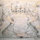 Gräfliches/Fürstliches Wappen zu Bentheim und Steinfurt, 30 x 22 cm
